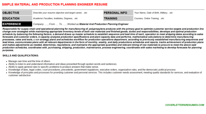 Material And Production Planning Engineer Resume Template