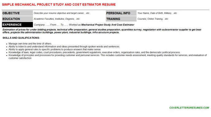 Mechanical Project Study And Cost Estimator CV Cover Letter ...