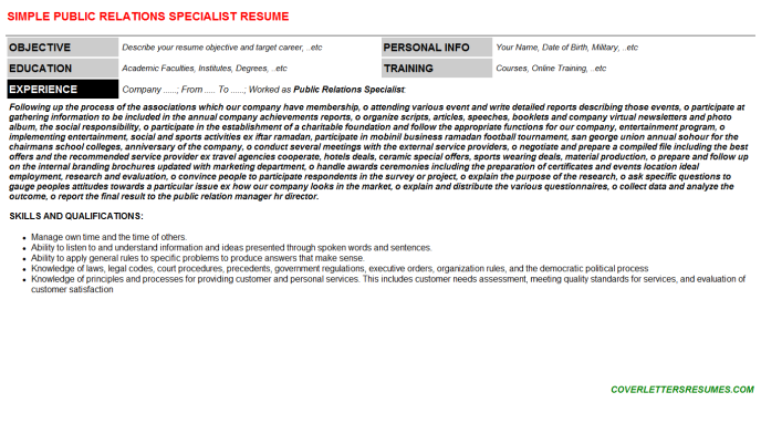 Public Relations Specialist Resume Template (#39160)