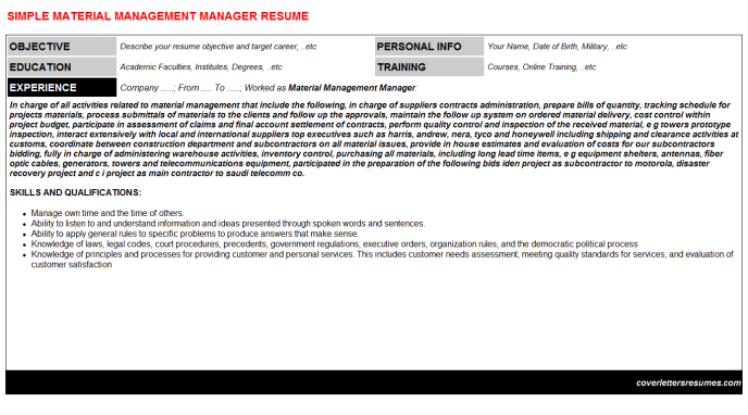 Material Management Manager Resume Template (#1162)