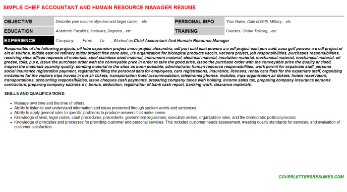 chief accountant and humain resource manager cv cover letter & resume