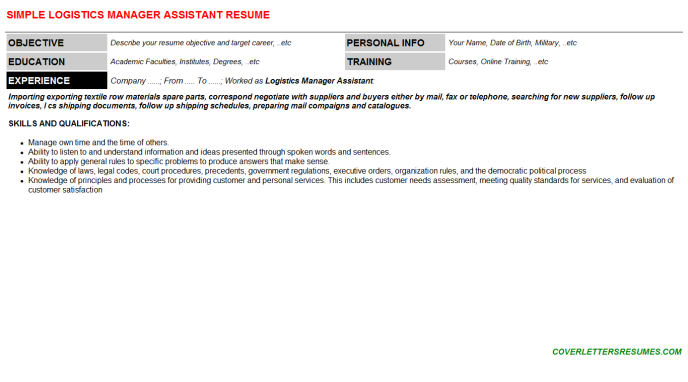 Logistics Manager Assistant Resume Template (#2666)