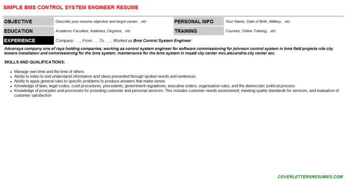 Bms Control System Engineer CV Cover Letter & Resume ...