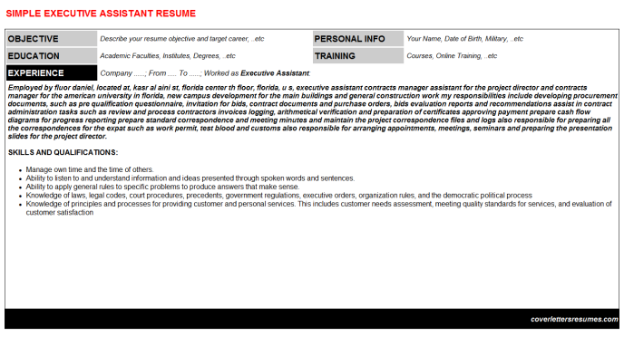 Executive Assistant Resume Template (#167)