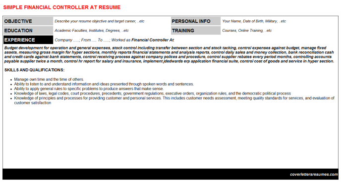 Financial Controller At Resume Template