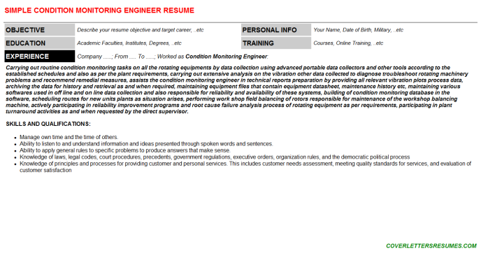 Condition Monitoring Engineer Job Letter & Resume Template ...