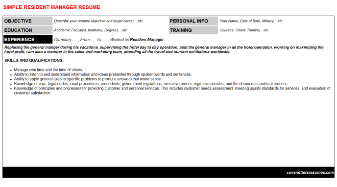 Resident Manager Resume Template