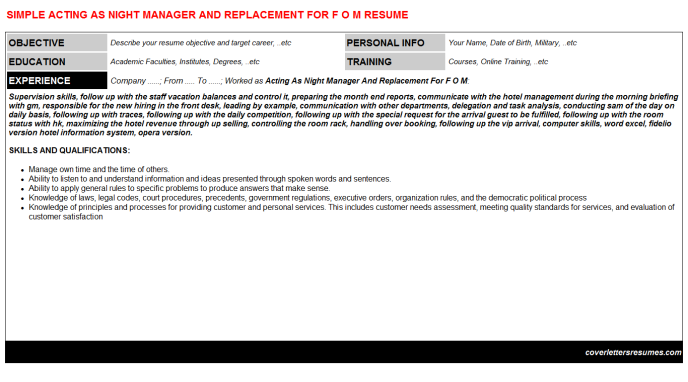 Acting As Night Manager And Replacement For F O M Resume Template