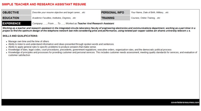 Teacher And Research Assistant Resume Template