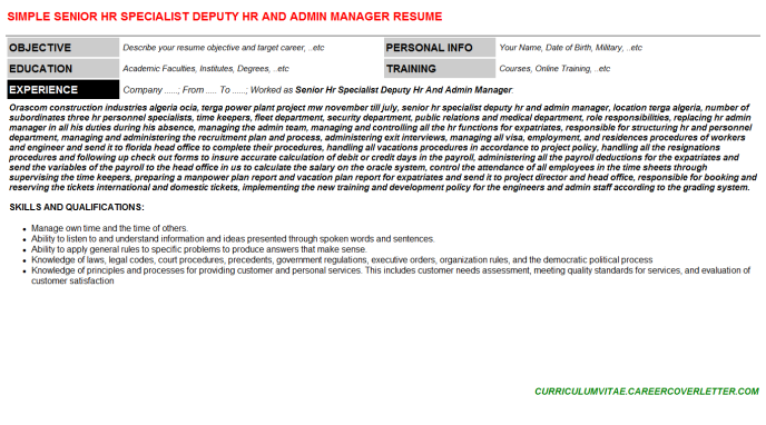Senior Hr Specialist Deputy Hr And Admin Manager Resume Template