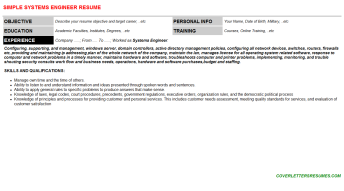 Systems Engineer Resume Template (#18173)