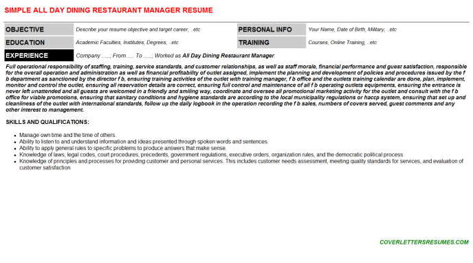 All Day Dining Restaurant Manager Resume Template (#124674)
