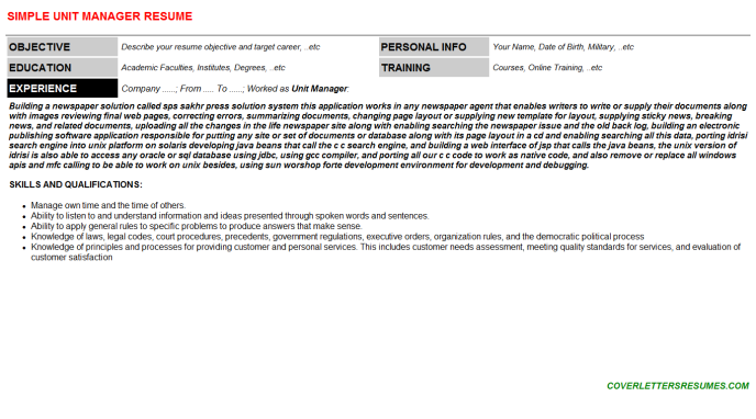 Unit Manager Resume Template (#66674)