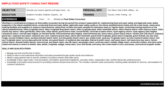 Food Safety Consultant CV Cover Letter & Resume Template   CV ...