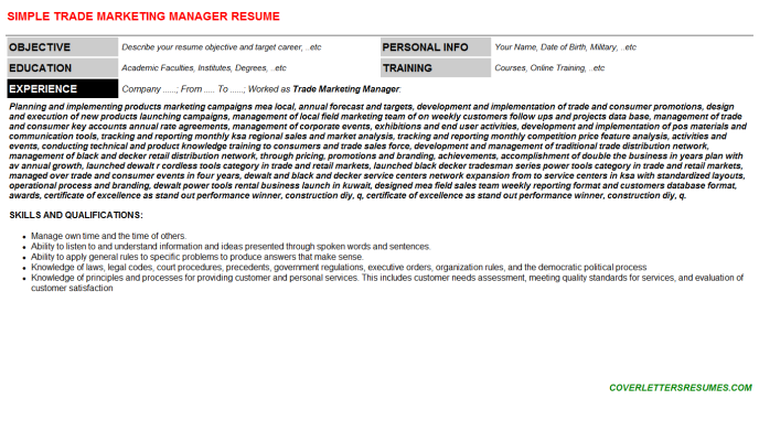 Trade Marketing Manager Resume Template (#675)