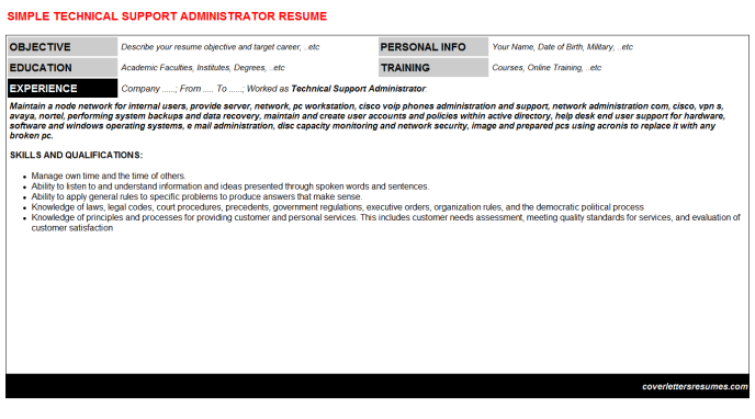 Technical Support Administrator Resume Template