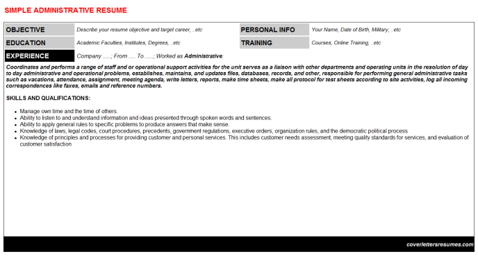 Administrative Resume Template (#58176)