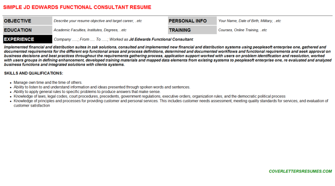 Jd Edwards Functional Consultant CV Cover Letter & Resume Template ...