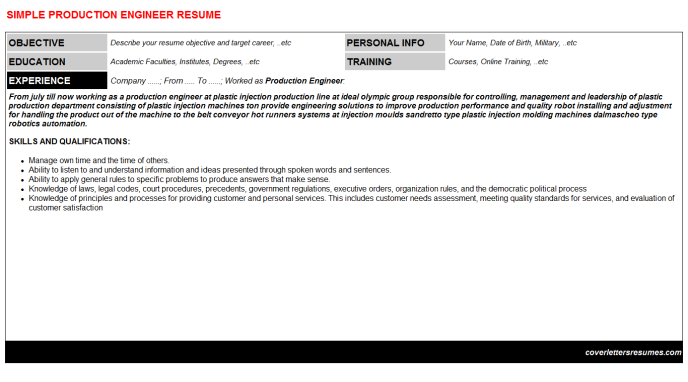 Production Engineer Resume Template