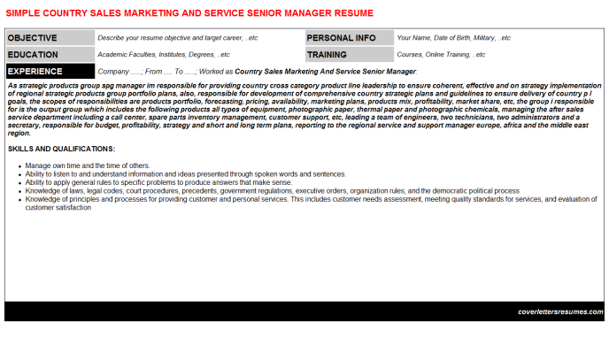 Country Sales Marketing And Service Senior Manager Resume Template (#178)