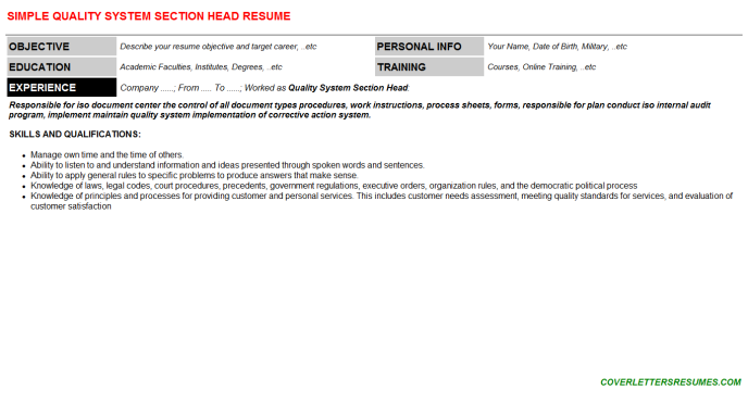 Quality System Section Head CV Resume