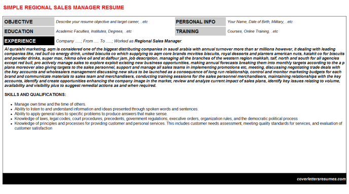 Regional Sales Manager Resume Template (#4178)