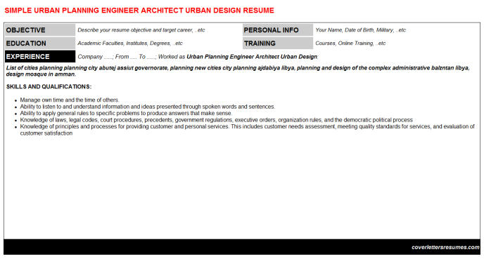Urban Planning Engineer Architect Urban Design Cv Cover Letter