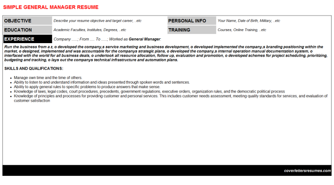 General Manager Resume Template (#17)