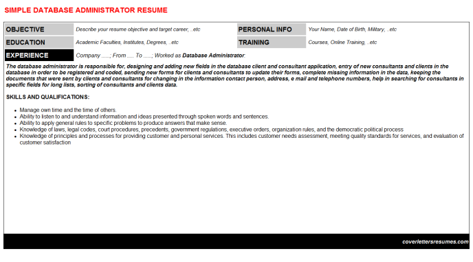 Database Administrator Resume Template (#179)