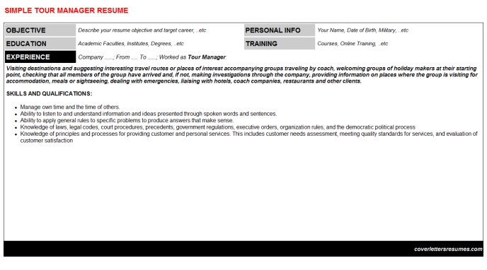 Tour Manager Resume Template