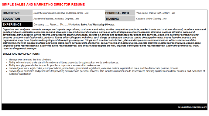 Sales And Marketing Director Resume Template (#180)