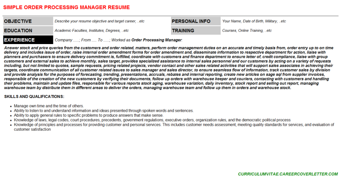 Order Processing Manager Job Letter Resume Template