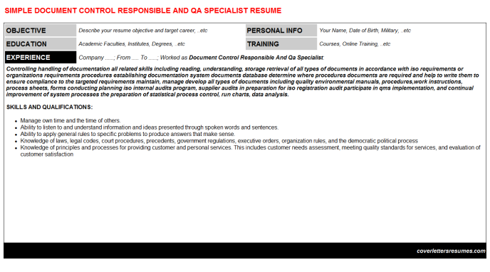 Document Control Responsible And Qa Specialist CV Cover Letter ...