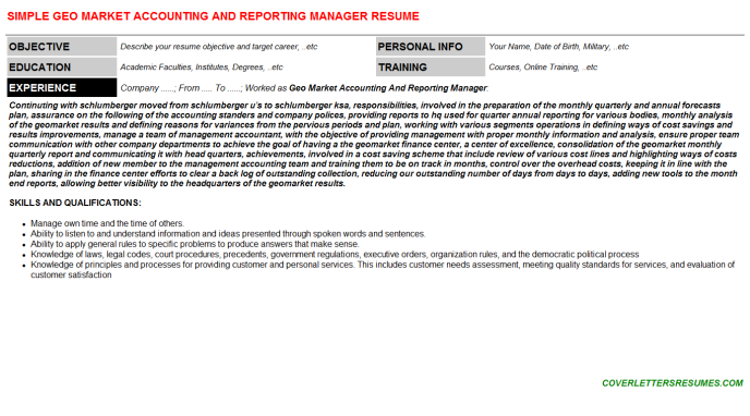 Geo Market Accounting And Reporting Manager Resume Template (#30684)