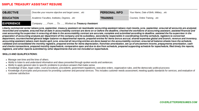 Treasury Assistant Job Letter & Resume Template