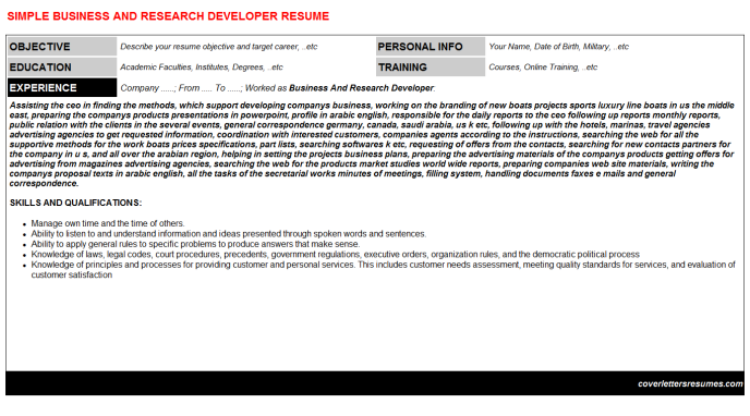 Business And Research Developer CV Cover Letter & Resume ...