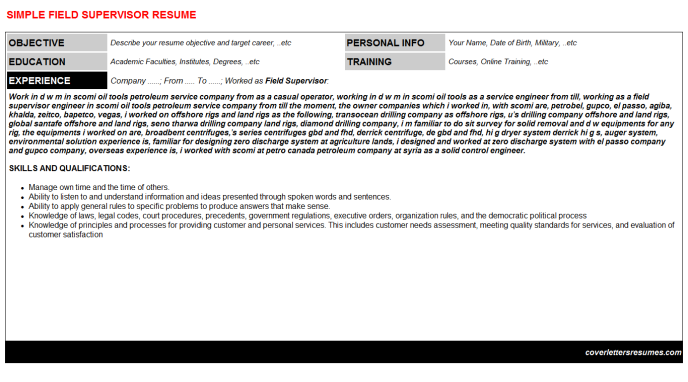 Field Supervisor Resume Template
