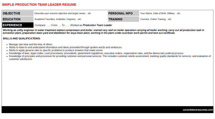 Production Team Leader CV Cover Letter & Resume Template ...
