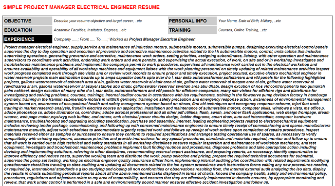Project Manager Electrical Engineer Resume Template (#29518)
