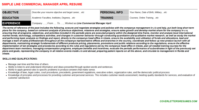 Line Commercial Manager April Resume Template