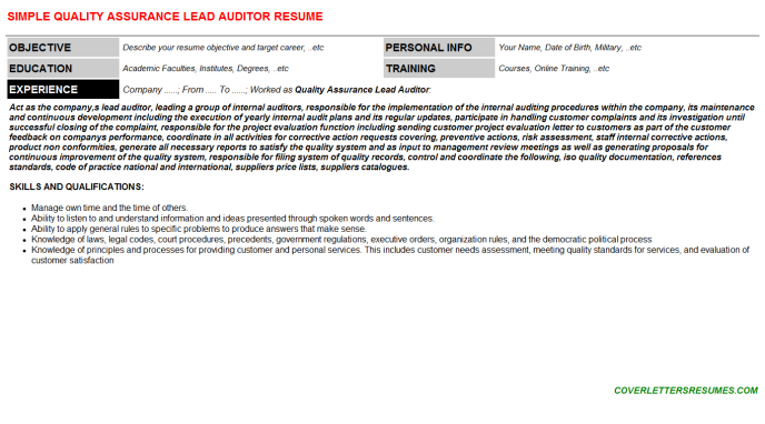 Quality Assurance Lead Auditor CV Resume