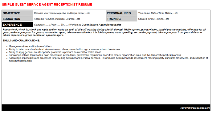 Guest Serivce Agent Receptionist CV Resume