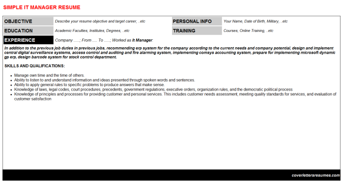 It Manager CV Resume