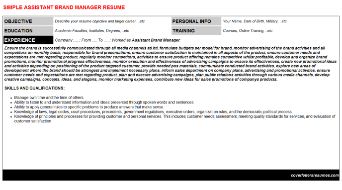 Assistant Brand Manager Resume Template