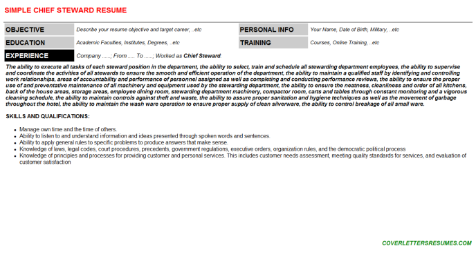 Chief Steward Job Letter & Resume Example