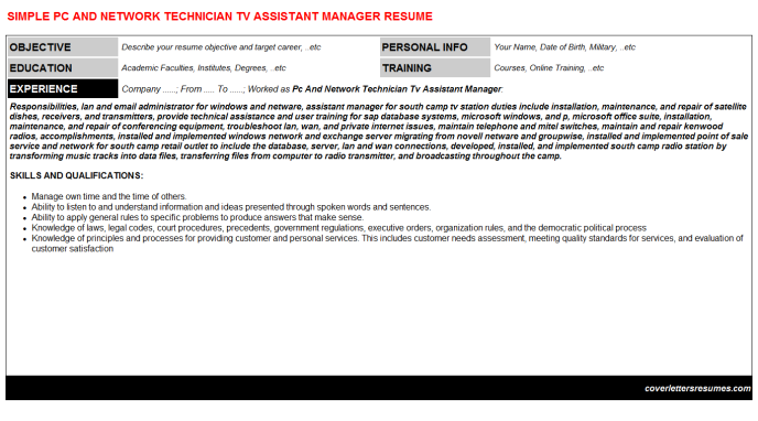 Pc And Network Technician Tv Assistant Manager Resume Template (#693)