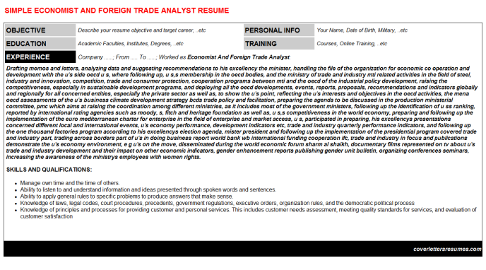 Economist And Foreign Trade Analyst CV Cover Letter & Resume ...