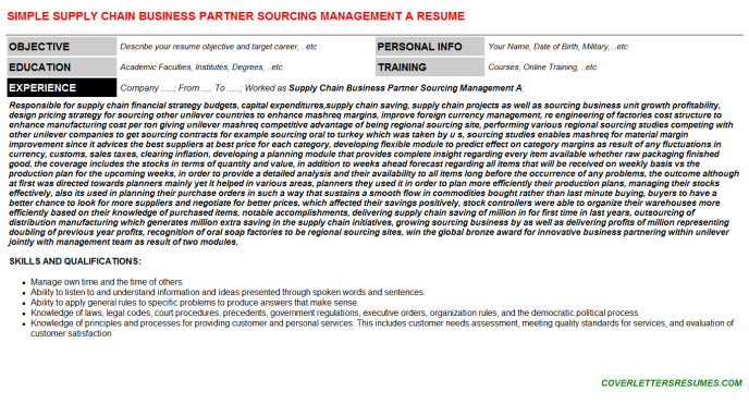 Supply Chain Business Partner Sourcing Management A CV Cover ...