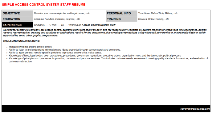 Access Control System Staff Resume Template