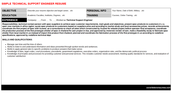 Technical Support Engineer Resume Template (#25197)
